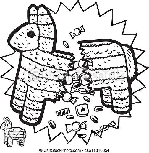 Clipart Vector of Mexican pinata sketch - Doodle style pinata sketch ...