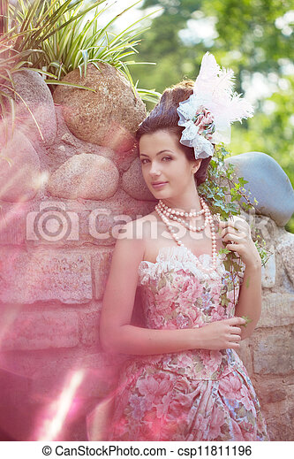 Princess in an vintage dress in nature - csp11811196