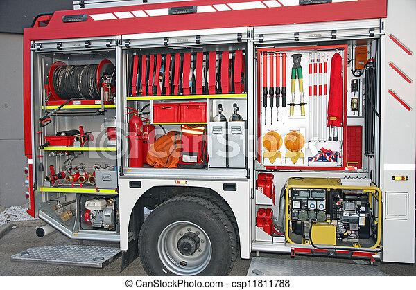 Emergency equipment inside fire truck - csp11811788