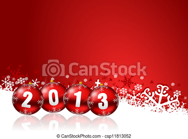 2013 new years illustration with christmas balls - csp11813052