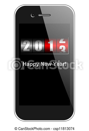 2013 new years illustration with mobile phone and counter - csp11813074