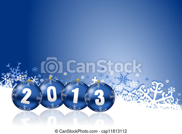 2013 new years illustration with christmas balls - csp11813112