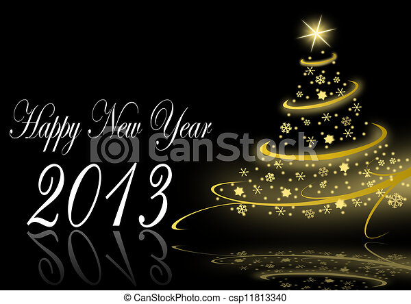 2013 new years  illustration with christmas tree - csp11813340