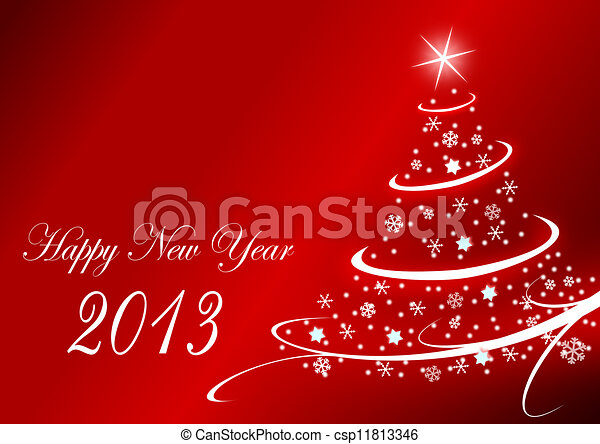 2013 new years illustration with christmas tree - csp11813346