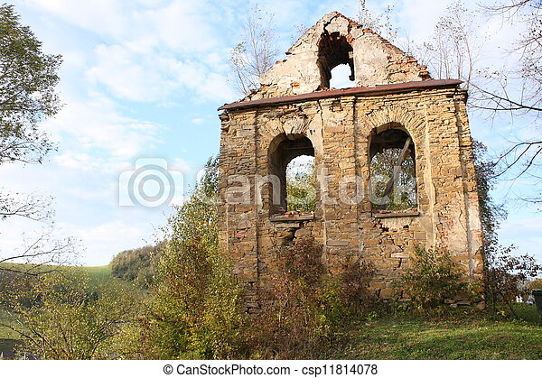 ruined wall on a hill - csp11814078