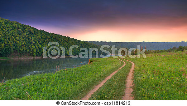 Beautiful summer landscape with the river in the mountains.Sunrise - csp11814213
