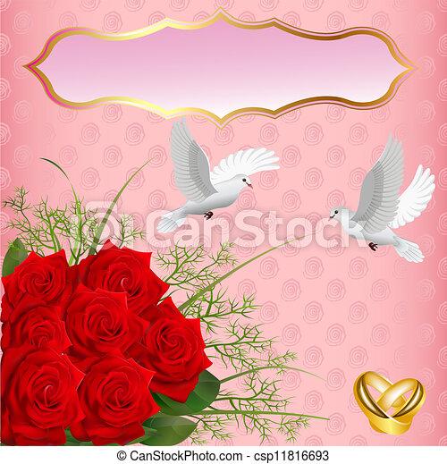 Vecteur - mariage, carte, roses, Anneaux, Pigeons - Banque d ...