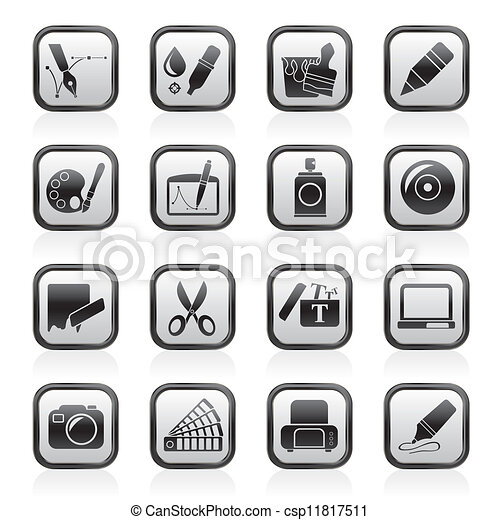 Vector Clip Art of Graphic and web design icons - vector icon set ...