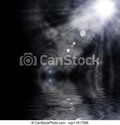 illustration of spotlight with glowing snow - csp11817596