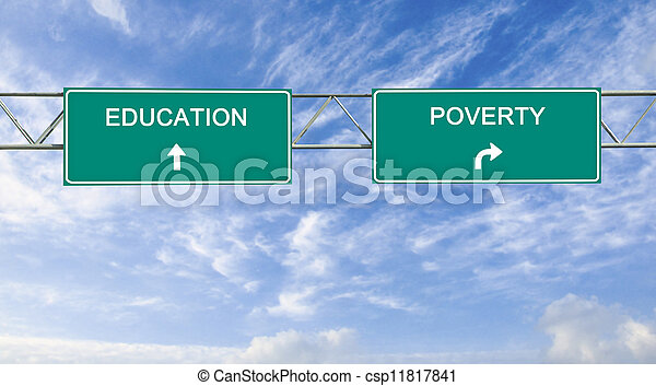 Road sign to education and poverty - csp11817841