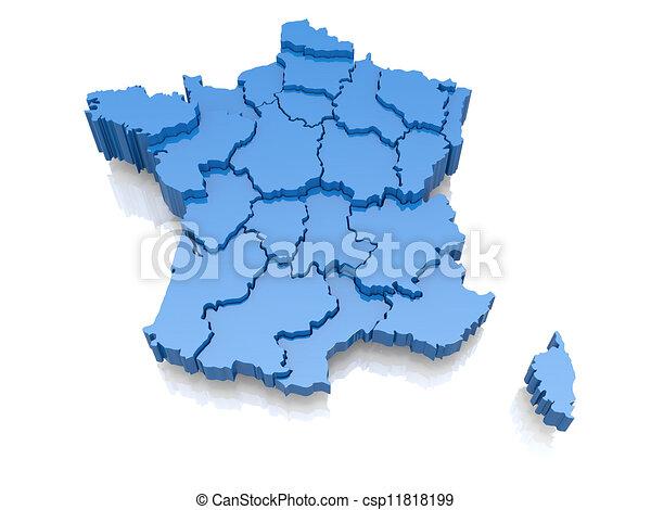 Illustration de carte, tridimensionnel, france - Three-dimensional, carte,... csp11818199 ...