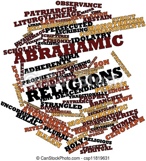 Word cloud for Abrahamic religions - csp11819631