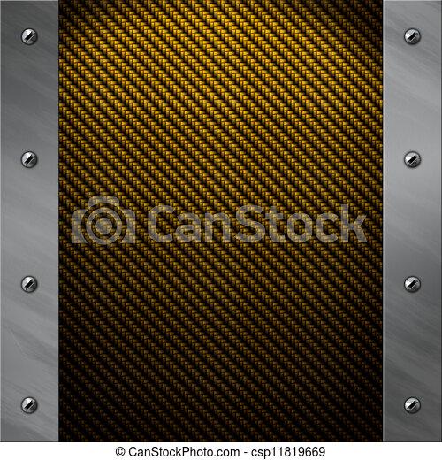 Brushed aluminum frame bolted to a golden carbon fiber background - csp11819669