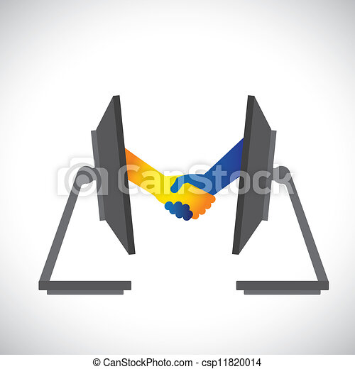 Concept illustration of internet deals, partnerships, business, etc., shown by handshake between two people from inside two computer(PC) monitors. - csp11820014
