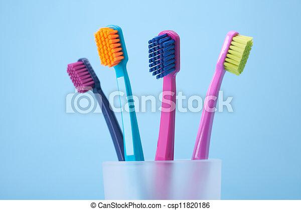 Dental hygiene - toothbrushes - csp11820186
