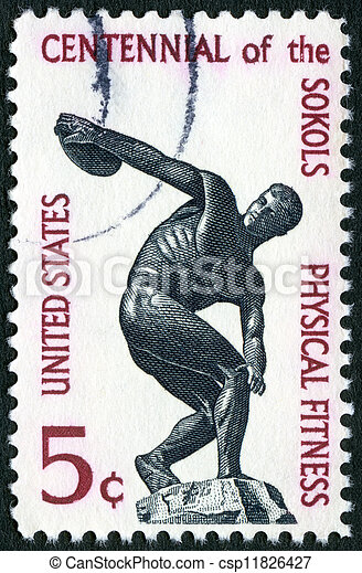 USA - CIRCA 1965: A stamp printed in USA shows Discus thrower, Importance of physical fitness of the founding of the Sokol (athletic) organization in America, circa 1965 - csp11826427