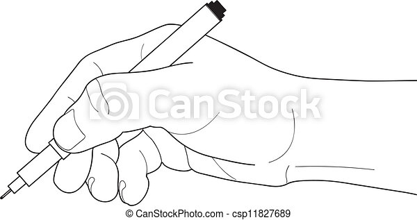Graphic Pen Drawings Hand Holding Pen Csp11827689