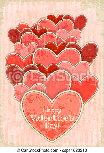 Retro Valentines Day Card with Hearts - csp11828218