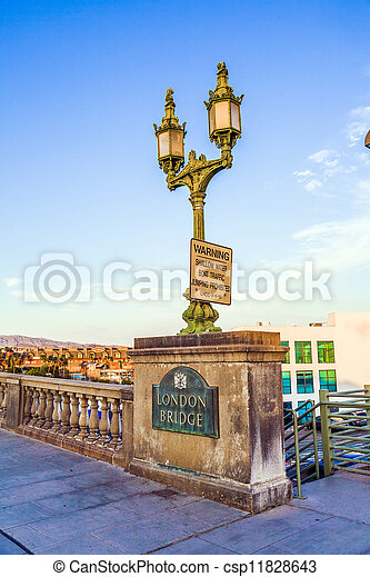 London Bridge in Lake Havasu, old historic bridge rebuilt with original stones in America - csp11828643