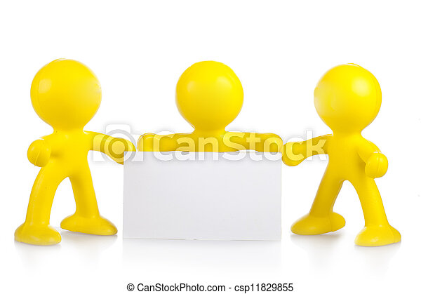 Three yellow little men hold a white banner with a place for the text - csp11829855