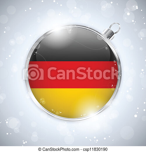 Merry Christmas Silver Ball with Flag Germany - csp11830190