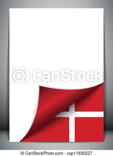 Denmark Country Flag Turning Page - csp11830227