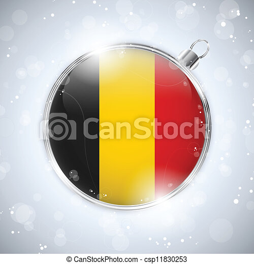 Merry Christmas Silver Ball with Flag Belgium - csp11830253