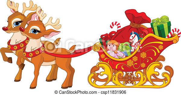 Sleigh of Santa Claus - csp11831906