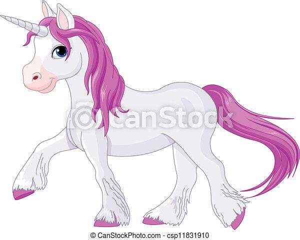 Vector Clip Art de silenciosamente, yendo, unicornio - Ilustración ...