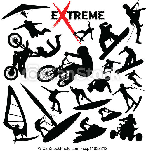Vector eXtreme sport silhouettes - csp11832212