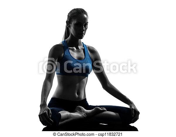 woman exercising yoga meditating - csp11832721