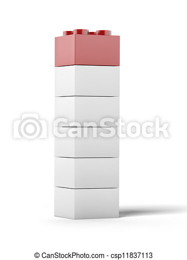 White and red plastic toy blocks. - csp11837113