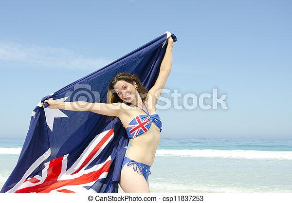 sexy, femme, Australien, drapeau, à, plage - csp11837253