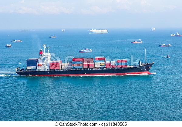 Stock de fotograf a de carga barco contenedores mar navegaci n carga barco - Contenedores de barco ...