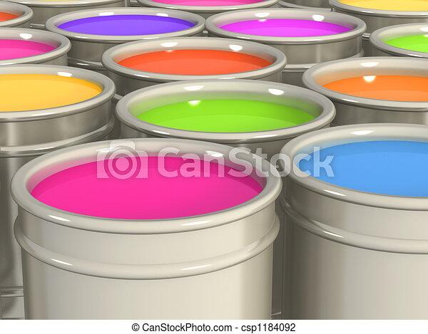 Multi-coloured paints - csp1184092