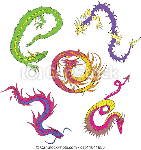 Clipart Vector of Long japanese dragon worms. Set of color vector ...