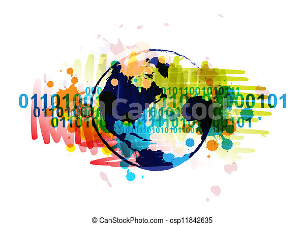 digital globe banner with art background design - csp11842635