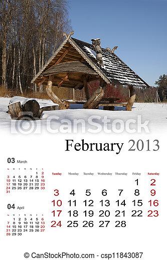 2013 Calendar. February - csp11843087