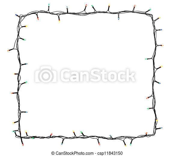 Christmas lights frame isolated on white background with copy space - csp11843150