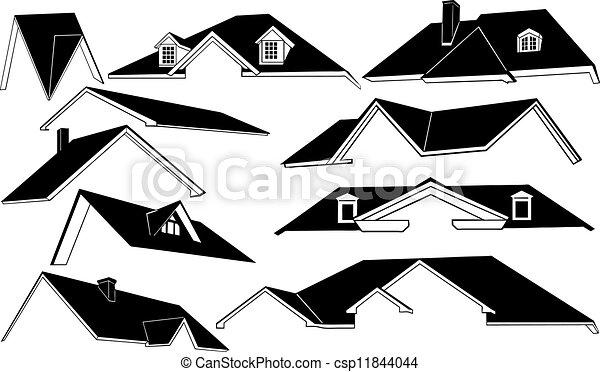 Eps vector de techos conjunto de diferente techos - Dibujos de tejados ...