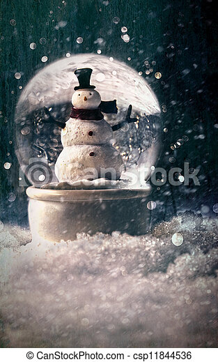 Snow globe in a snowy winter setting - csp11844536