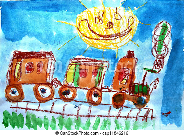 Child's watercolor picture of train and sun.  - csp11846216