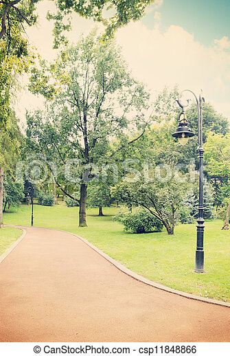 lamp in the park, tinted - csp11848866