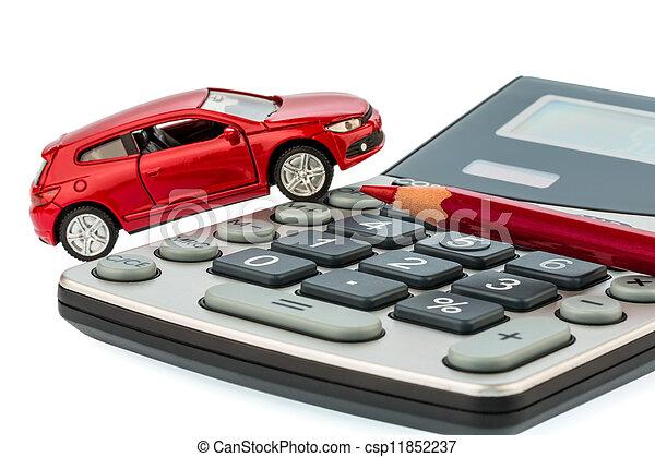 auto, red pencil and calculator - csp11852237