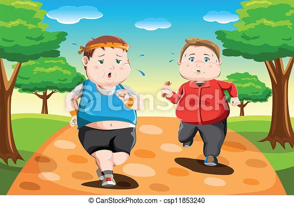 Kids Park Drawing Overweight Kids Running a