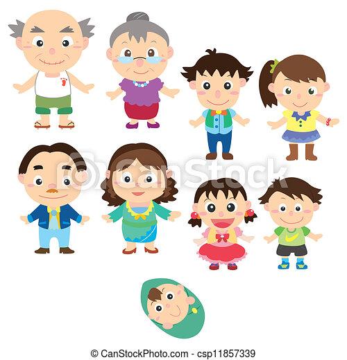 Vectores de caricatura, familia, icono, vector, dibujo csp11857339 ...