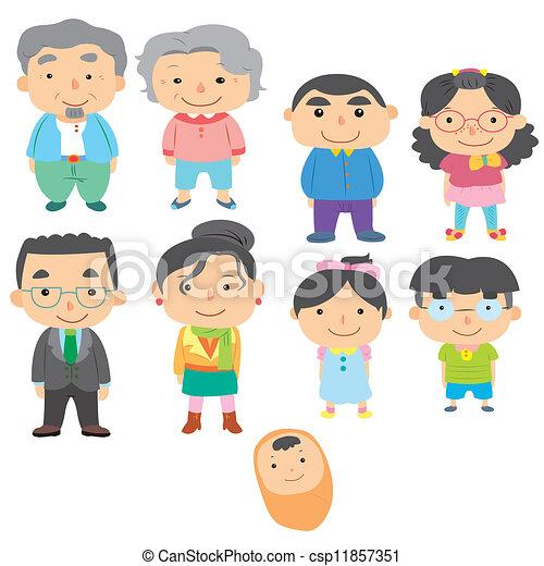 Clipart vectorial de caricatura, familia, icono, vector, dibujo ...