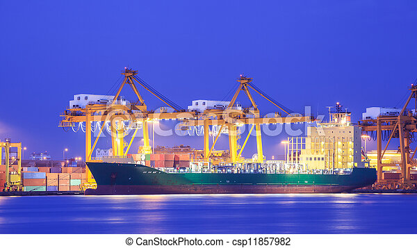 Logistic concept, container cargo ship transport import export in harbor and crane