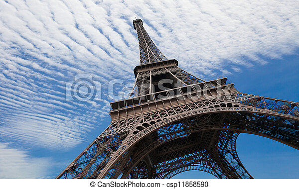 Eiffel tower in Paris against blue sky - csp11858590