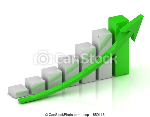Business growth chart of the bars and the green arrow - csp11859116